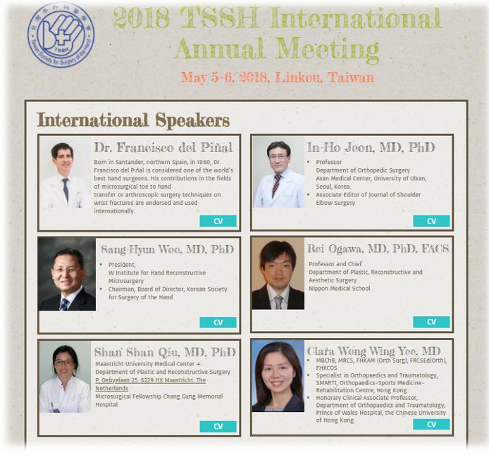Congreso de la Sociedad de Cirugía de la Mano de Taiwán, ponentes internacionales